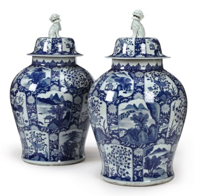A MASSIVE PAIR OF BLUE AND WHI