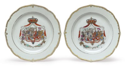 A PAIR OF PRINCELY ARMORIAL PL