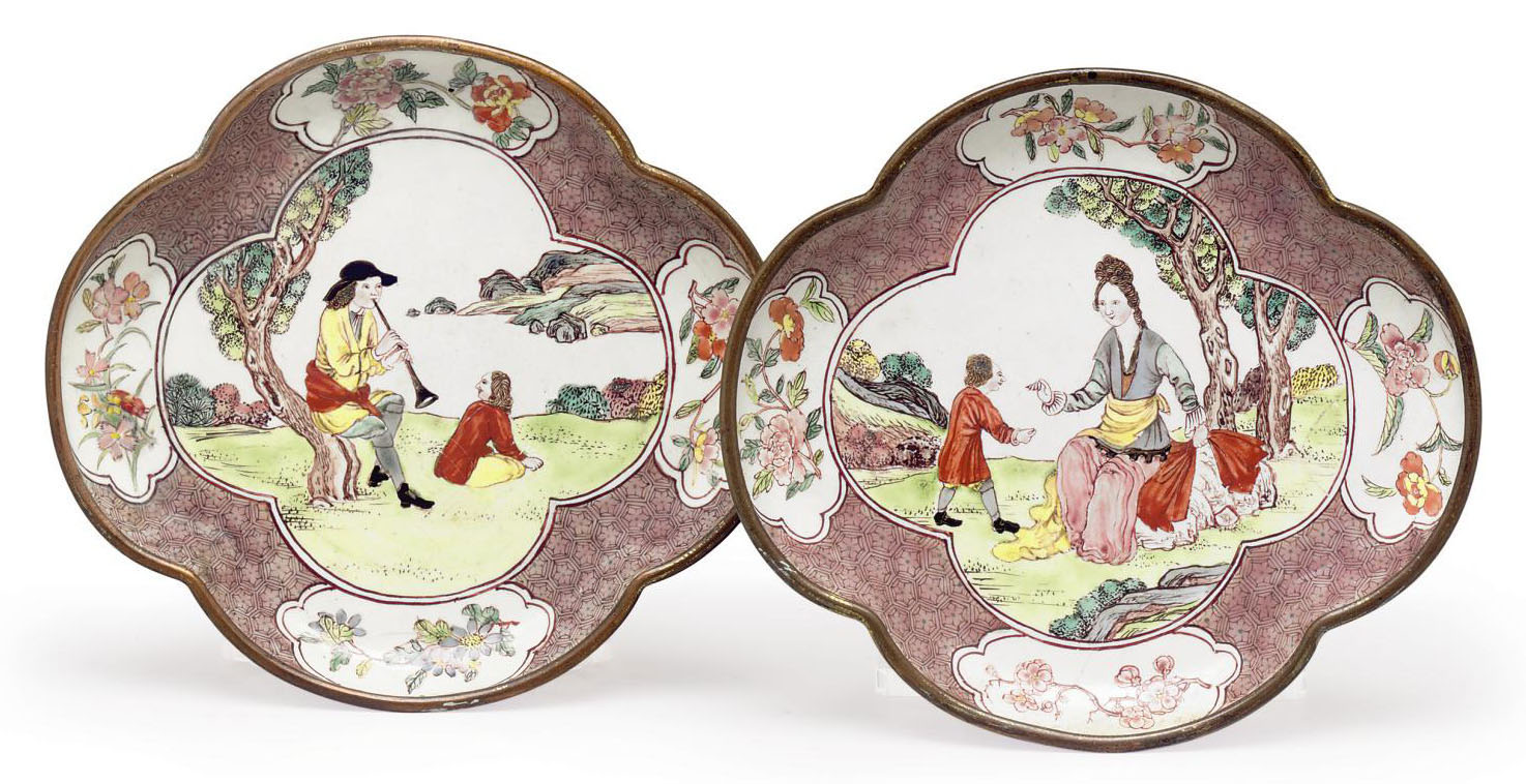 A PAIR OF EUROPEAN SUBJECT  sc 1 st  Christieu0027s & A PAIR OF EUROPEAN SUBJECT u0027u0027CANTON ENAMELu0027u0027 QUATREFOIL DISHES ...