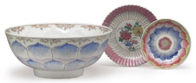 AN UNUSUAL LOTUS BOWL AND TWO