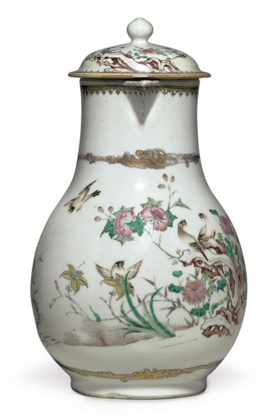 A LARGE FAMILLE ROSE JUG AND C