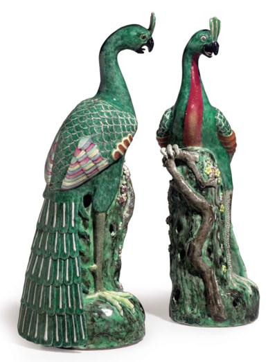 A VERY LARGE PAIR OF PEACOCKS