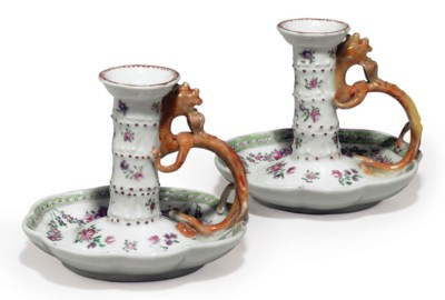 A PAIR OF FAMILLE ROSE CHAMBER