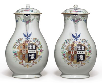 A LARGE PAIR OF ARMORIAL JUGS