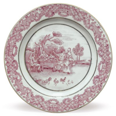 A PUCE 'CARD PLAYERS' DISH