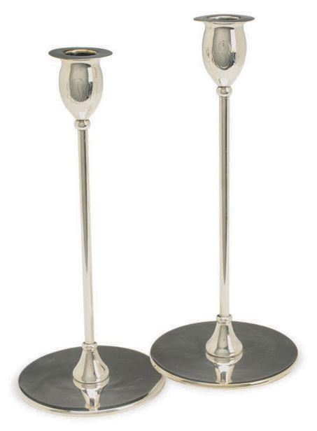 A PAIR OF AMERICAN SILVER-PLATED 'ALPHA' CANDLESTICKS,