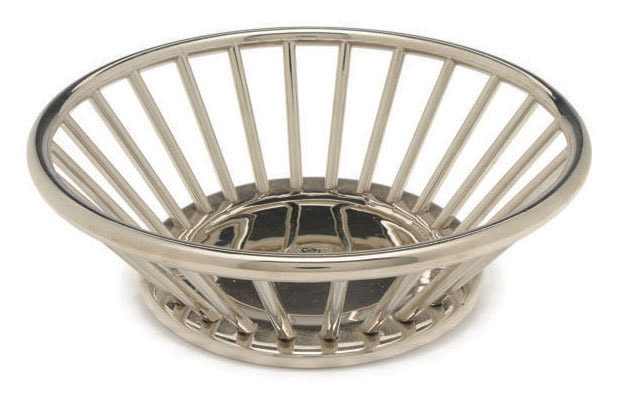 AN ITALIAN SILVER METAL BREAD BASKET,
