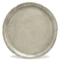 AN AMERICAN PEWTER LOBED CIRCULAR TRAY,