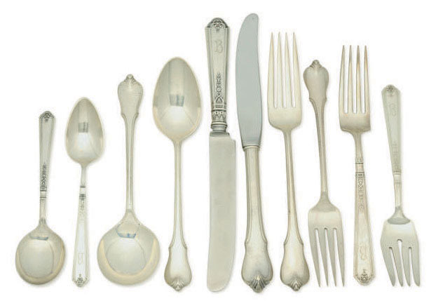 TWO AMERICAN SILVER FLATWARE PART SERVICES,