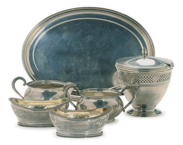 A PAIR OF GEORGE III SILVER OVAL SALTS AND AN AMERICAN SILVER PIECED CONDIMENT JAR AND COVER,