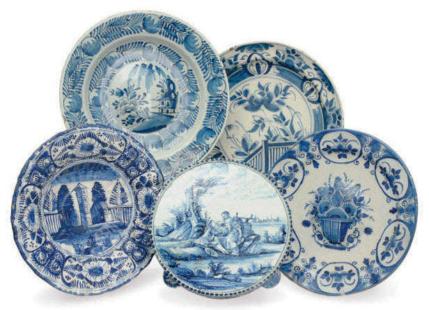 FIVE DUTCH DELFT BLUE AND WHITE DISHES,