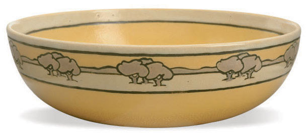 AN AMERICAN GLAZED POTTERY BOWL WITH LANDSCAPE FRIEZE,