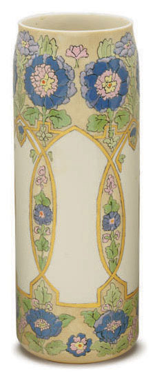 AN AMERICAN GLAZED EARTHENWARE CYLINDRICAL VASE,