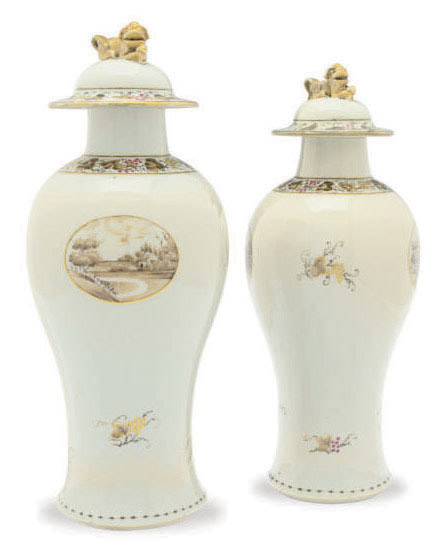 A PAIR OF CHINESE EXPORT PORCELAIN BALUSTER VASES AND COVERS,