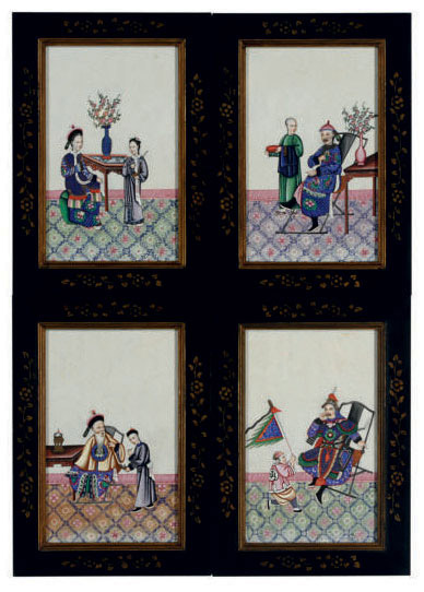 A SET OF TWELVE CHINESE EXPORT ALBUM PAINTINGS,