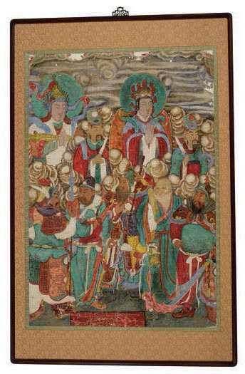 A KOREAN PAINTING OF A BUDDHA GROUP,