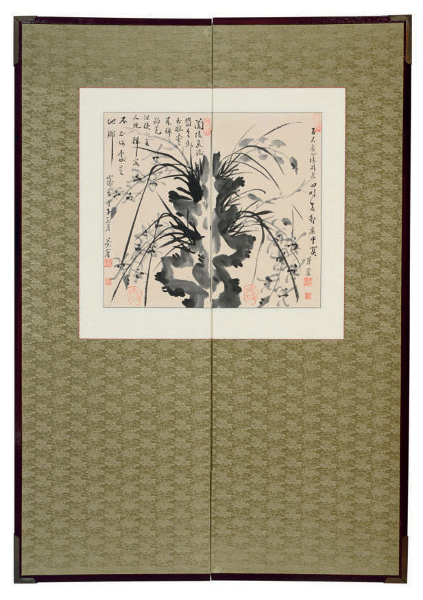 A KOREAN PAINTING OF ORCHIDS MOUNTED ON A TWO-PANEL SCREEN,