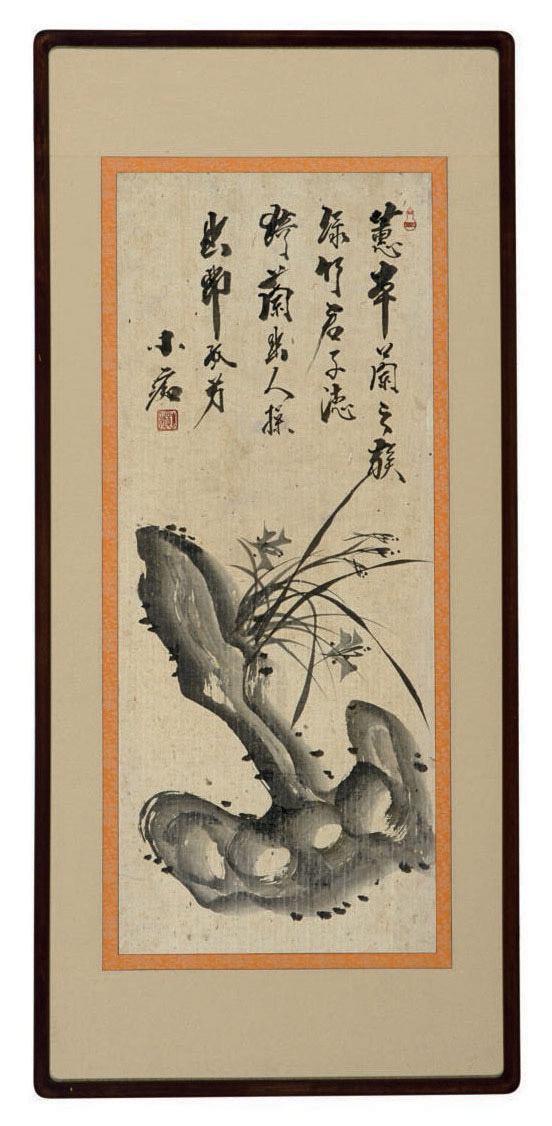 A KOREAN PAINTING OF ORCHIDS AND ROCK,