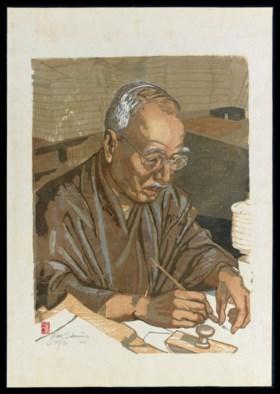 A JAPANESE WOODBLOCK PRINT OF THE HAIKU POET, TAKAMA KYOSHI,
