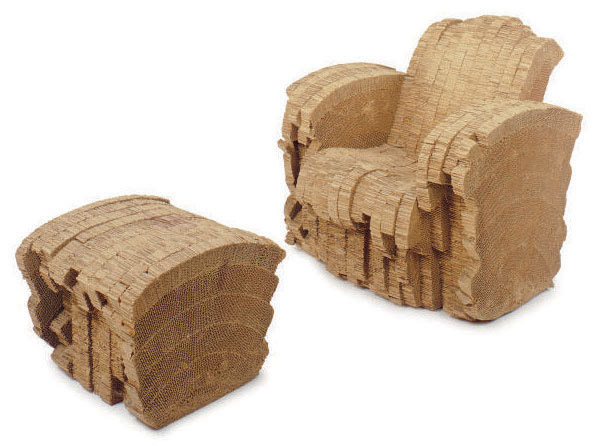A 'SHERMAN' LAMINATED CORRUGATED CARDBOARD CHAIR AND ...