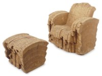 A 'SHERMAN' LAMINATED CORRUGATED CARDBOARD CHAIR AND OTTOMAN,