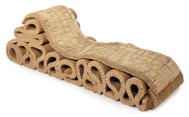 A CORRUGATED CARDBOARD 'BUBBLES' CHAISE-LONGUE,