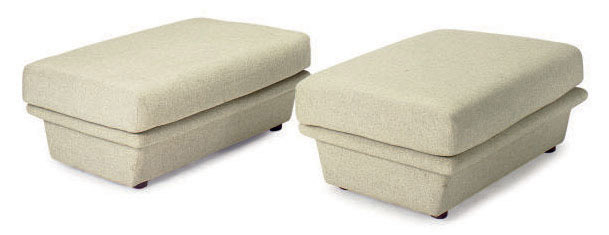 A SET OF FOUR GREY WOOL UPHOLSTERED LOW BENCHES,