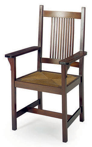 AN AMERICAN ARTS AND CRAFTS MAHOGANY AND RUSH-SEAT ARMCHAIR,