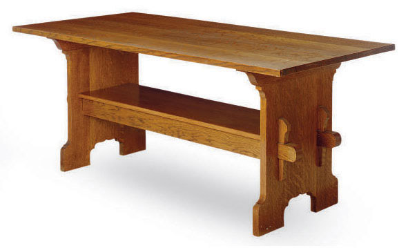 AN AMERICAN ARTS AND CRAFTS OAK LIBRARY TABLE,