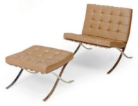 A CHROMED-STEEL AND TAN LEATHER 'BARCELONA' CHAIR AND FIVE OTTOMANS,