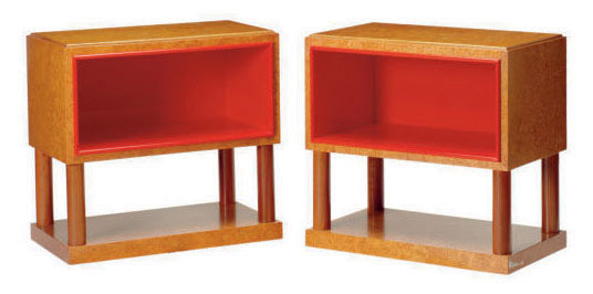 A PAIR OF ITALIAN RED-LACQUERED AND BIRD'S-EYE MAPLE SIDE TABLES,