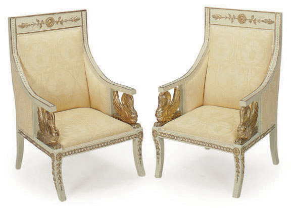 A PAIR OF ITALIAN CREAM-PAINTED AND PARCEL-GILT BERGERES,