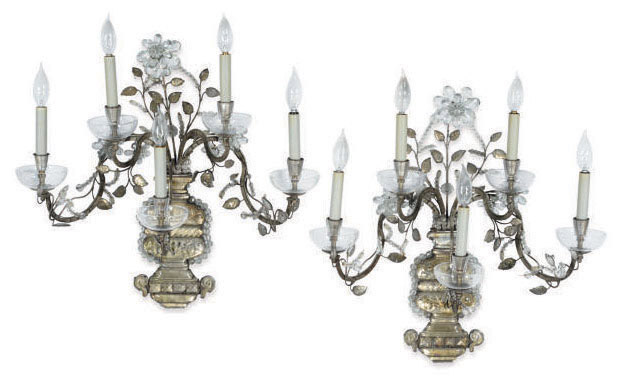 A PAIR OF FRENCH SILVERED-METAL AND CUT-GLASS FIVE-LIGHT WALL-LIGHTS,