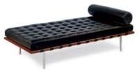 A CHROMED-METAL, FRUITWOOD AND BLACK LEATHER 'BARCELONA' DAYBED,
