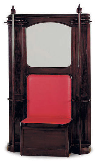 AN AUSTRIAN BENTWOOD AND LEATHER UPHOLSTERED HALL STAND,