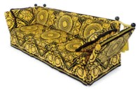 A PAIR OF BLACK AND GOLD PLUSH-UPHOLSTERED KNOLE THREE-SEAT SOFAS,