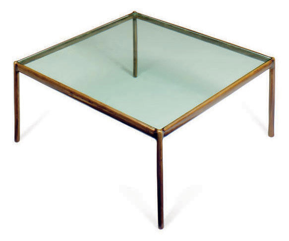A BRONZE AND GLASS SQUARE LOW TABLE,