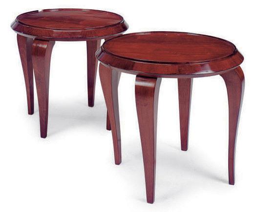 A PAIR OF MAHOGANY CIRCULAR SIDE TABLES,