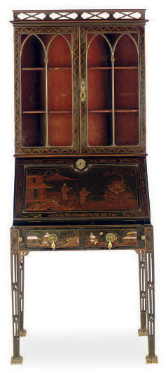 AN ENGLISH BLACK AND GILT-JAPANNED DIMINUTIVE SECRETAIRE BOOKCASE,