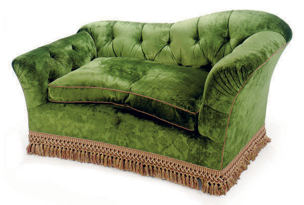 A GREEN SILK VELVET-UPHOLSTERED MERIDIENNE,