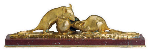 A FRENCH GILT-BRONZE FIGURAL GROUP OF MICE,