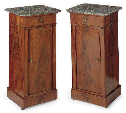 A PAIR OF LOUIS PHILIPPE MAHOGANY AND MARBLE-TOP POT CUPBOARDS,