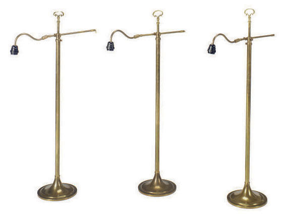 A GROUP OF SIX BRASS ADJUSTABLE FLOOR LAMPS,