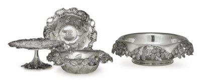 FOUR SILVER SERVING DISHES