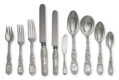 AN ASSEMBLED SILVER FLATWARE S