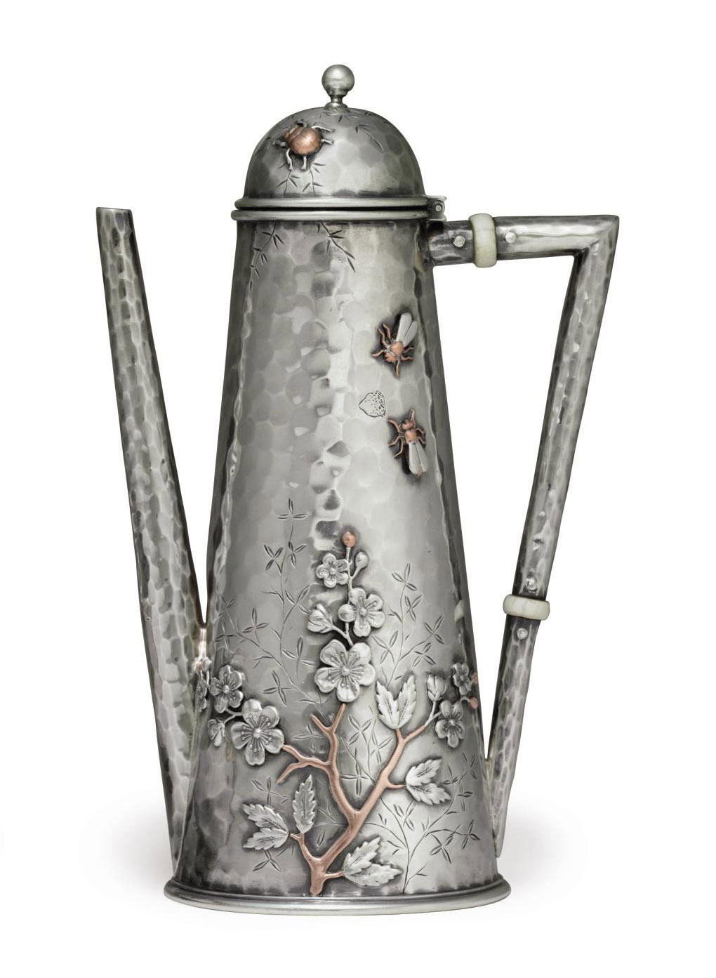 A SILVER AND MIXED-METAL COFFEE POT**