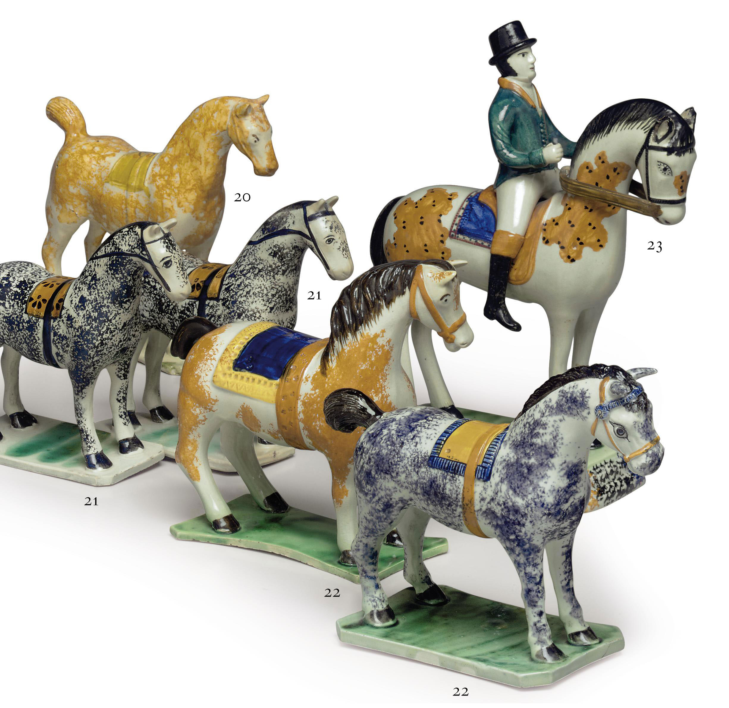 A PAIR OF PEARLWARE MODELS OF RACE HORSES