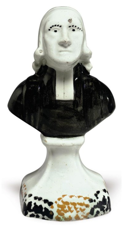 A PEARLWARE PORTRAIT BUST OF T