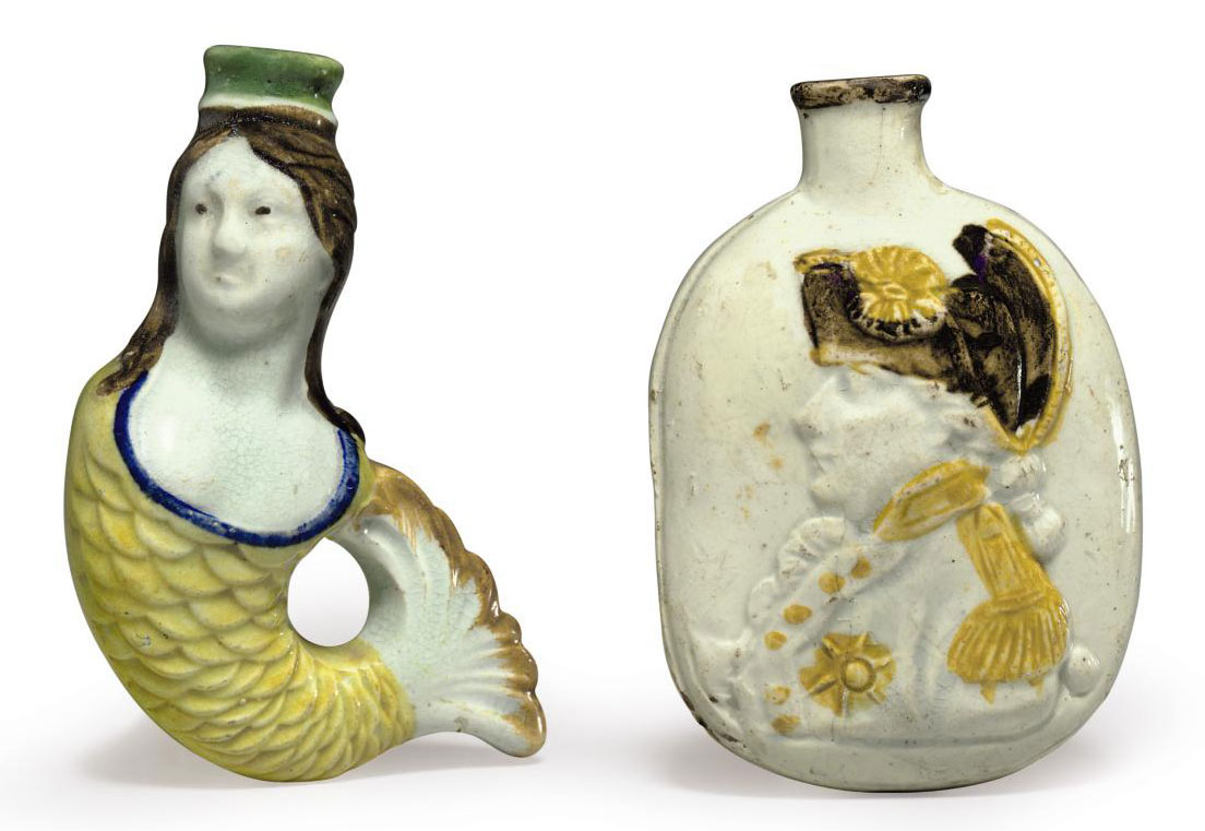TWO PEARLWARE SCENT BOTTLES