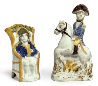 TWO PEARLWARE FIGURES OF NAPOL